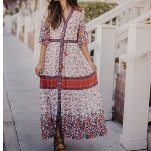 Boho Ivory Floral Maxi Dress New with Tags